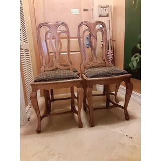 French Provincial Elm Wood Dining Chairs With Chanel Style Boucle Seat - Set 4 Preview