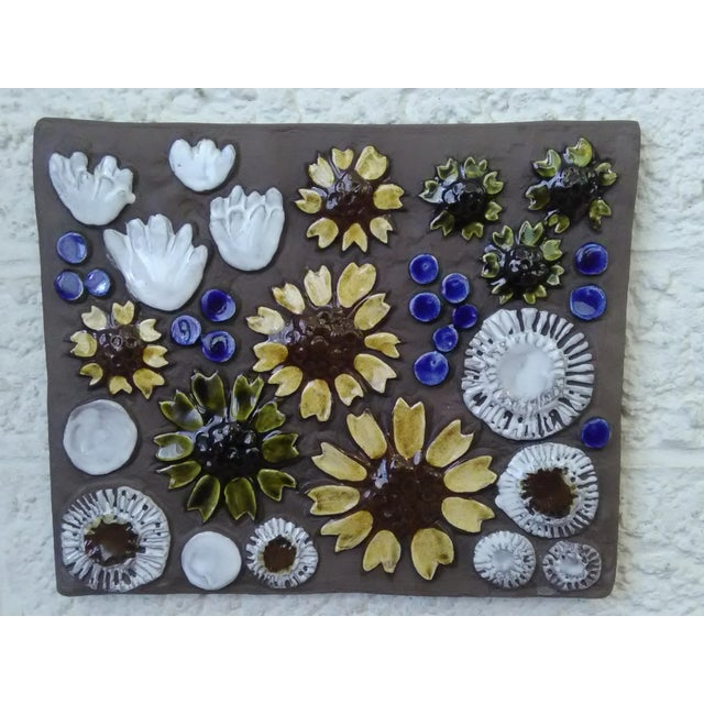 Mid-Century Swedish Ceramic Floral Wall Plaque For Sale - Image 5 of 6