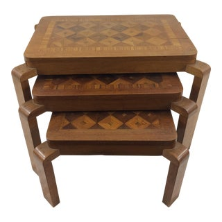 French Art Deco Marquetry Nesting Tables - Set of 3 For Sale