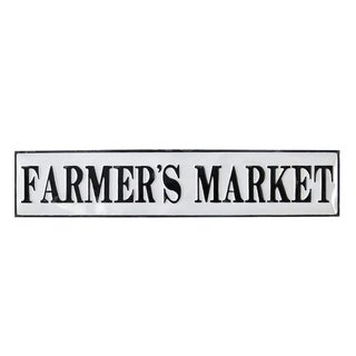 Vintage Farmers Market Enamel Metal Sign For Sale