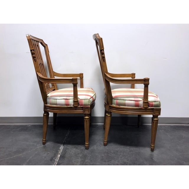 Wood Henredon Capri Mid Century Italian Provincial Neoclassical Dining Captain's Arm Chairs - Pair For Sale - Image 7 of 13