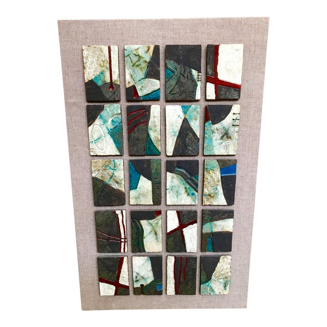 20 Unique Tiles Mounted as a Wall Sculpture For Sale