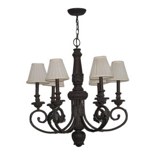 Contemporary 6-Arm Metal Chandelier With Shades For Sale