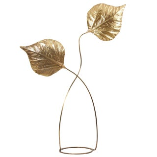 1 of 2 Huge Two Rhubarb Leaves Brass Floor Lamp by Tommaso Barbi For Sale