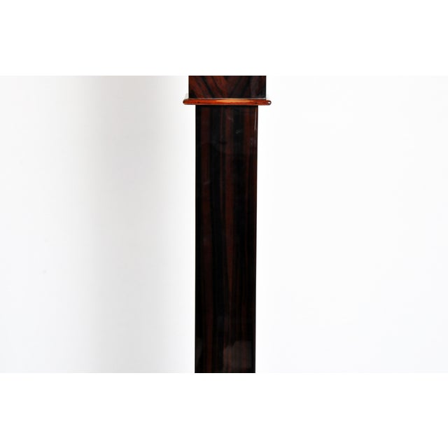 Brown Contemporary Step Base Walnut Veneer Floor Lamps - a Pair For Sale - Image 8 of 11