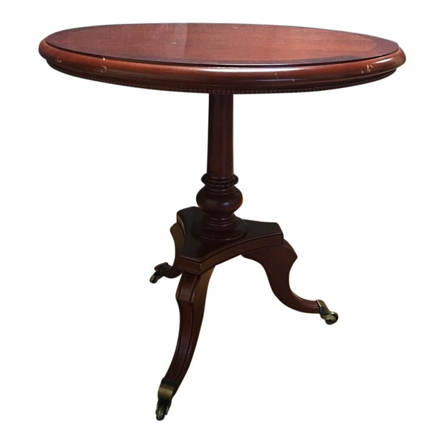 Traditional Cherry-Wood Drum Table W/ Brass Casters - Image 1 of 8