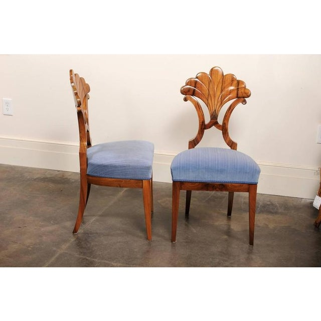 Pair of Austrian Biedermeier Fan Back Chairs with Light Blue Upholstery, 1840 - Image 10 of 10