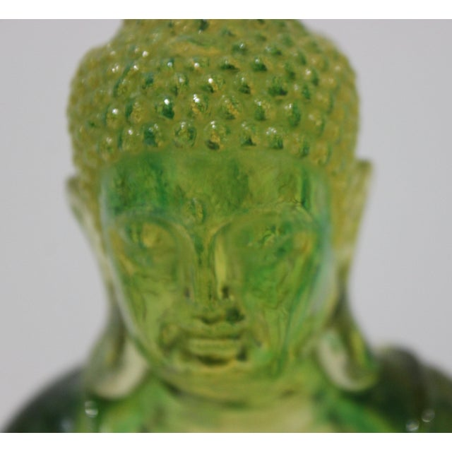 Vintage Seated Buddha Green Translucent Lucite Black Base For Sale - Image 4 of 12
