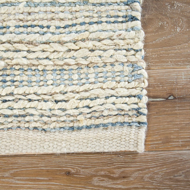 Contemporary Jaipur Living Canterbury Natural Stripe White/ Blue Area Rug - 9' X 12' For Sale - Image 3 of 6