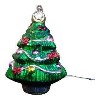 Red Bows Green Christmas Tree Ornament Figurine For Sale