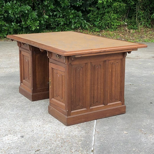 19th Century Gothic Oak Executive Desk For Sale - Image 4 of 13