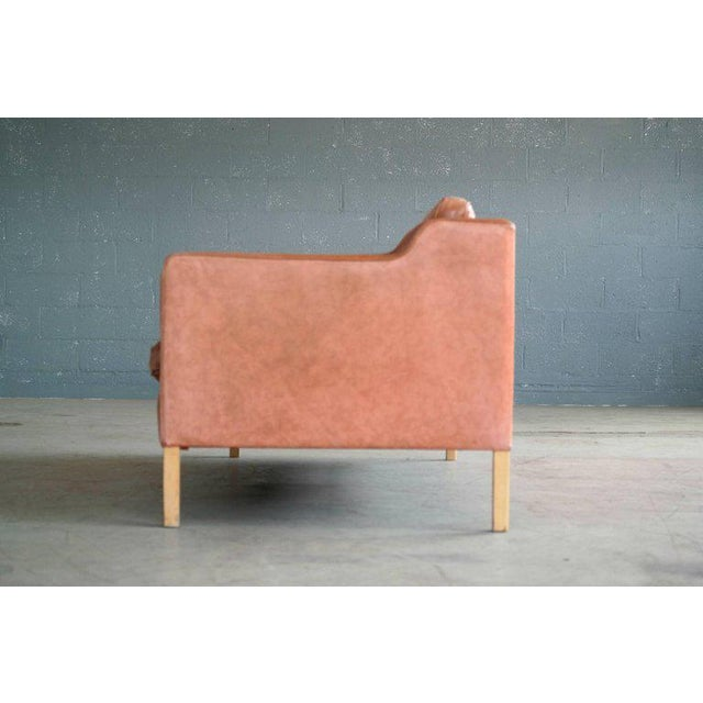 Børge Mogensen Style Sofa Model 2213 in Light Cognac Leather by Stouby Mobler - Image 5 of 10