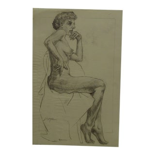 "1951 Figurative Original Drawing/Sketch on Paper ""Single Breast Nude"" by Tom Sturges Jr For Sale"