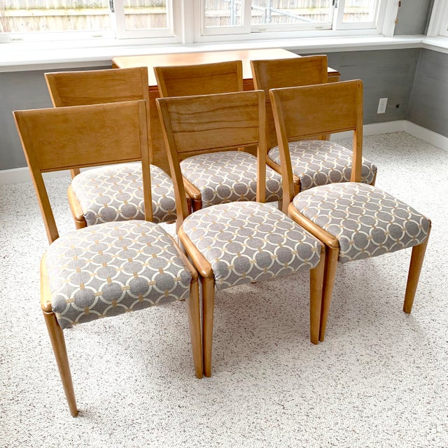 Mid 20th Century Mid-Century Modern Heywood-Wakefield Harmonic Drop Leaf Dining Table Set - 7 Pieces For Sale - Image 5 of 13