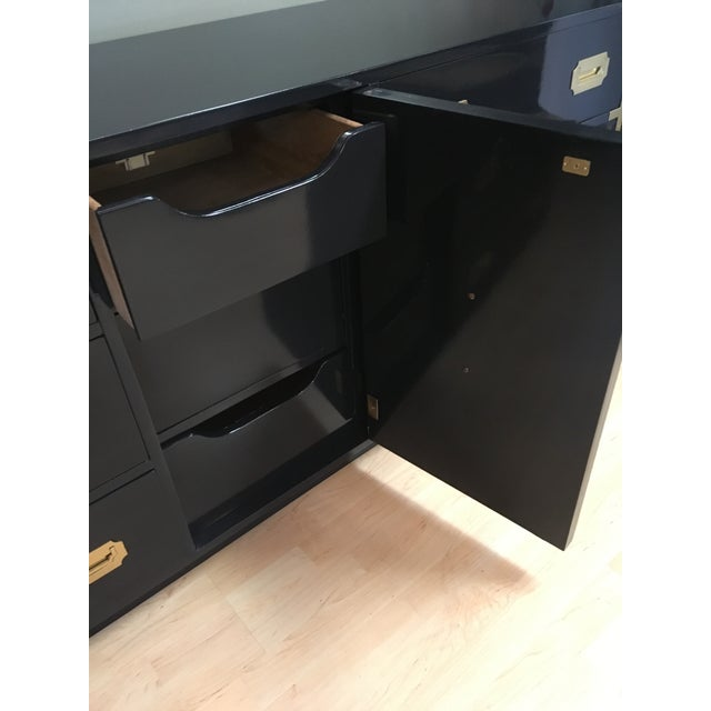Campaign Style Long Console-In Dark Navy High Gloss For Sale In Tampa - Image 6 of 9