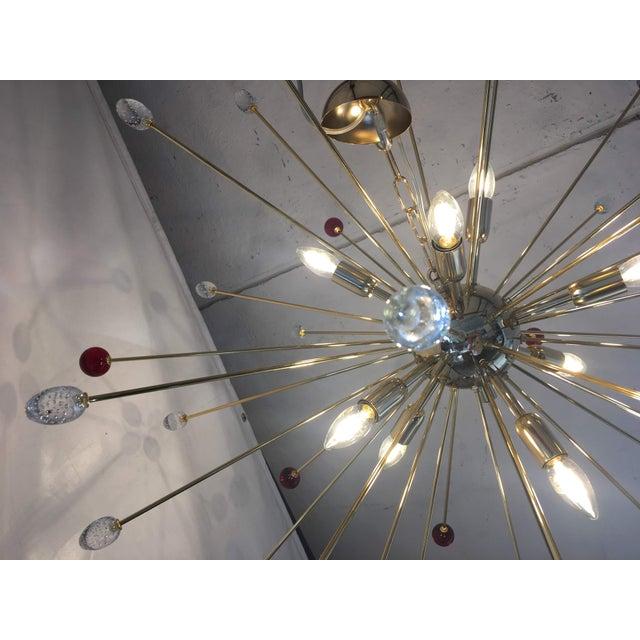 Contemporary Transparent and Red Murano Glass Triedo and Gold 24k Sputnik Frame For Sale - Image 3 of 13