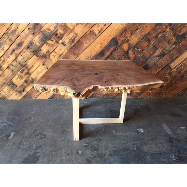 Reserved Mid Century Modern Lane Burl Wood Surfboard Coffee: Custom Live Edge Solid Claro Walnut Slab Coffee Table
