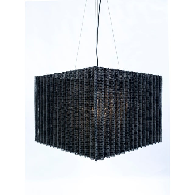 Black Cube Caged Crystal Pendant For Sale - Image 8 of 12