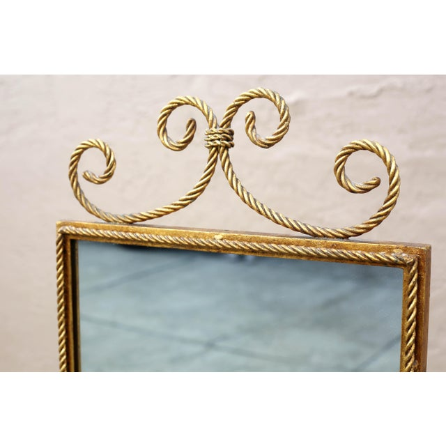 Vintage Gold Gilt Wrought Iron Rope Floor Mirror - Made in Italy For Sale - Image 4 of 11