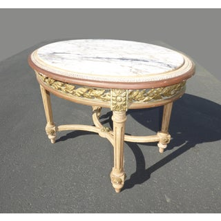 Vintage French Louis XVI White Marble Oval Side / Coffee Table Preview
