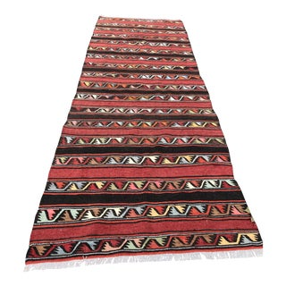 Vintage Anatolian Kilim Runner - 3′7″ × 9′11″-Striped Flat Woven Rug-Brick Red Orange Pink Black Ivory Lovely Motifs-Mid Century Modern Long Rug For Sale