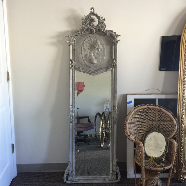 Grey Relief Beveled Floor Mirror | Chairish