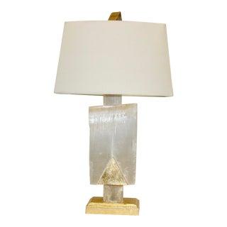 Custom Selenite Crystal Lamp With Shade