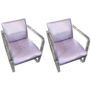 1970s Vintage Dura Lee Fabric Lucite Armchairs- A Pair For Sale