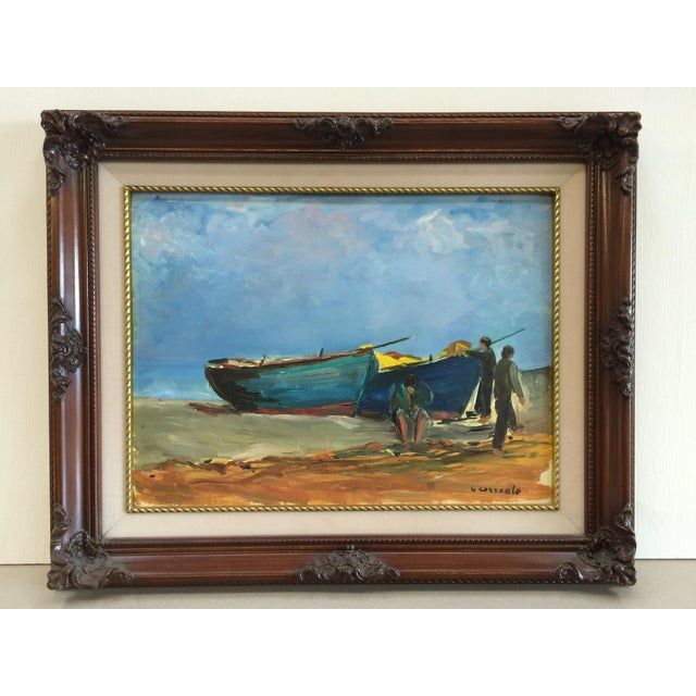 "Signed original oil on board of boats on the beach. Painted in an Impressionist style. Signed lower right ""G. Correale""...."