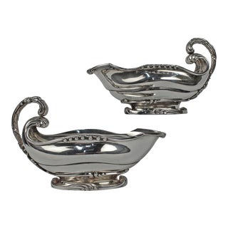 Art Nouveau Dutch Sterling Silver Sauce Boats with Cattails by Ph Saakes - A Pair For Sale