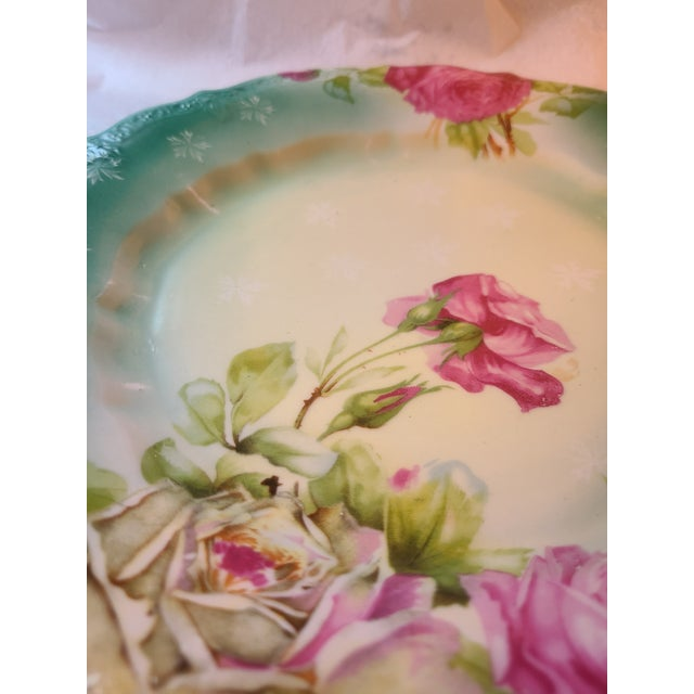 Shabby Chic Antique Prussian Rose Pattern Handled Cake Plate For Sale - Image 3 of 11