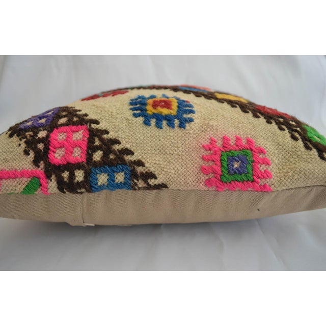 """Dimension: 16"""" x 16"""" Material : wool on wool. Made from vintage or antique Turkish kilim rug. Back side cotton with hidden..."""