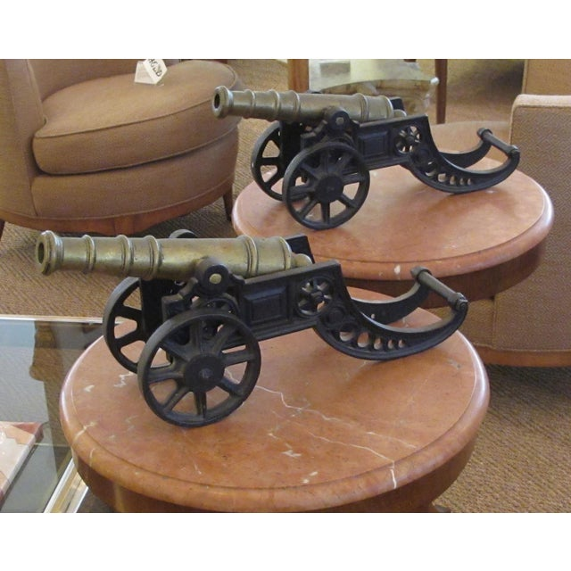 Black English Victorian Brass Ornamental Signal Cannons on Cast Iron Carriages - a Pair For Sale - Image 8 of 9