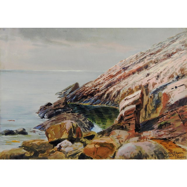 1907 Leopold Schwerin Swedish Coastal Scene Painting - Image 2 of 4