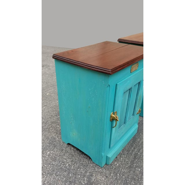 1990s 1990s French Country White Clad Turquoise Nightstands - a Pair For Sale - Image 5 of 12