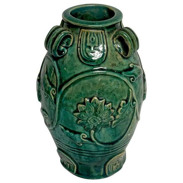Chinese Green Glazed Lotus Motif Vase For Sale - Image 10 of 10