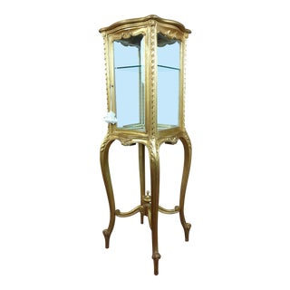 Louis XVI Beautiful minimal French Gilt wood Vitrine on Stands For Sale