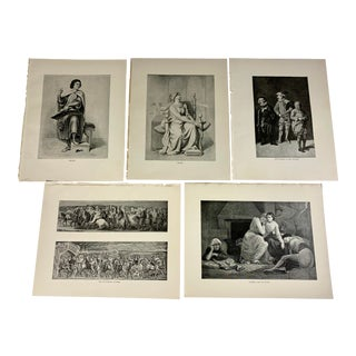1892 Antique Prints of Characters From English Poetry - Set of 5 For Sale