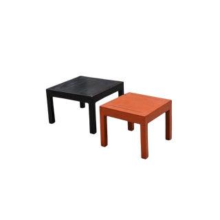Orange Black Parsons Tables - 2 Pieces For Sale