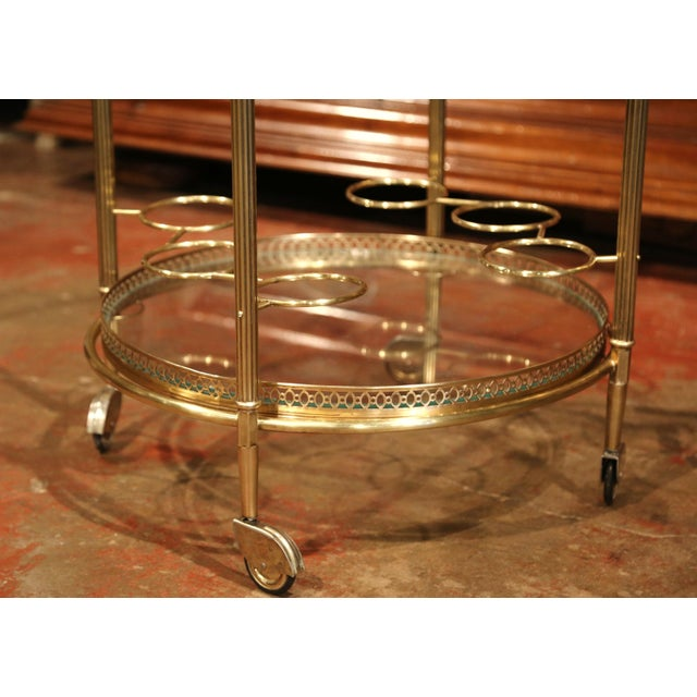 Early 20th Century French Two-Tier Brass Desert Table or Tea Cart on Wheels - Image 8 of 9