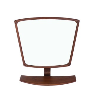 Danish Mid-Century Modern Adjustable Wall Mirror with Shelf For Sale