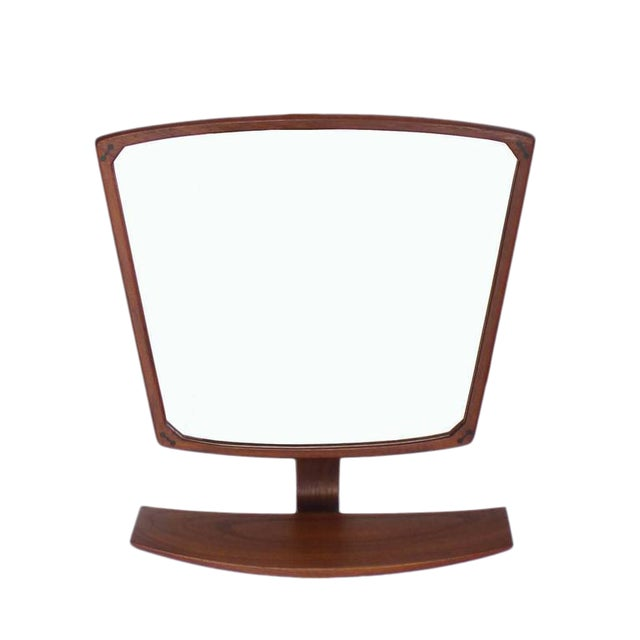Danish Mid-Century Modern Adjustable Wall Mirror with Shelf For Sale