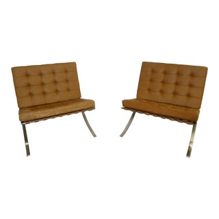 1960s Vintage Early Knoll Corp Art Metal Barcelona Chairs- a Pair For Sale