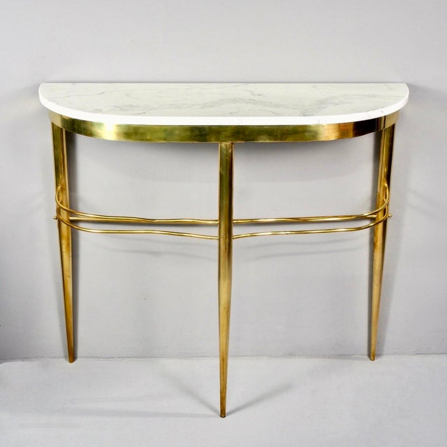 Mid Century Italian Brass Demilune Console With White Marble Top For Sale - Image 12 of 12