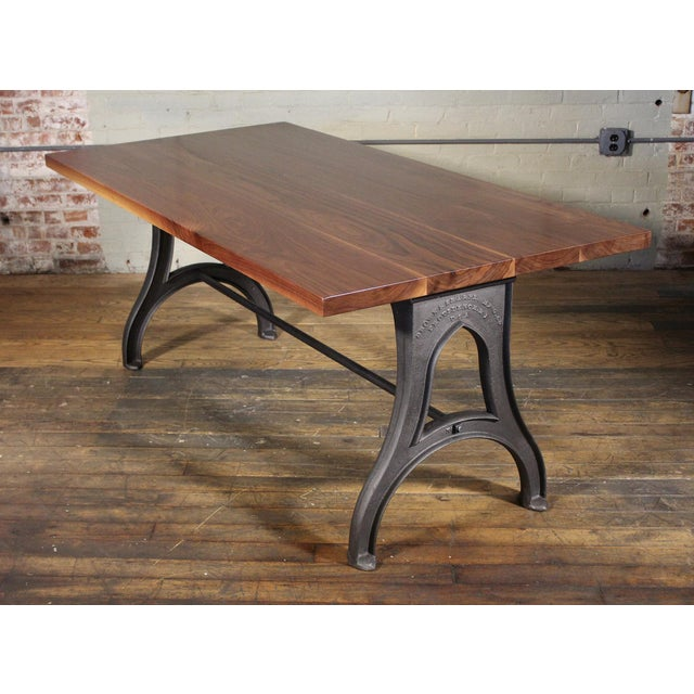 Brown Industrial Desk – Walnut Top With Cast-Iron Legs For Sale - Image 8 of 13