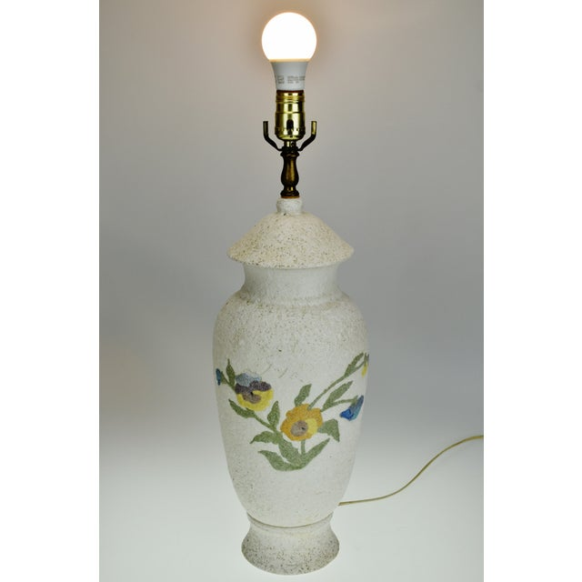 Vintage Large Textured Pottery Table Lamp Condition consistent with age and history. Please use zoom feature to check item...
