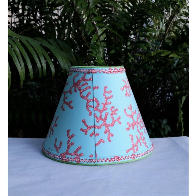 Lilly Pulitzer Fabric Lampshade Blue Red Clip On For Sale - Image 9 of 11