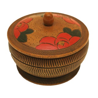 Japanese Hand Painted Wooden Trinket Box For Sale