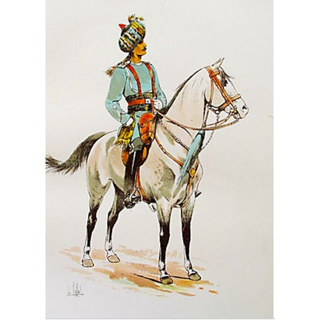 French French Cavalry Officer Prints, 1893 - Pair of 2 For Sale - Image 3 of 4