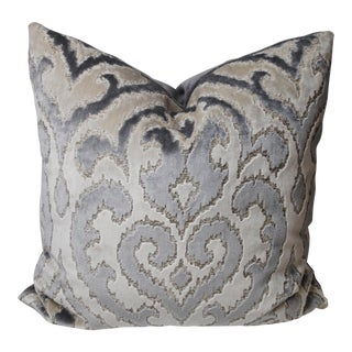 Art Deco Fabricut Damask Cut Velvet Gray and Cream Pillow For Sale